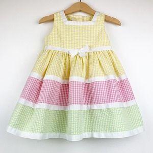 Bonnie Jean Multi Color Striped Bow Easter Dress 2